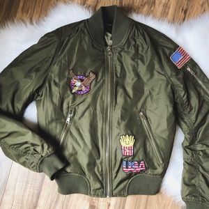 Topshop US Badged MA1 Khaki Bomber Jacket